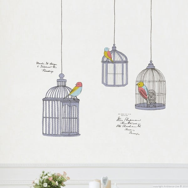Zestaw naklejek Ambiance Birds In Cage
