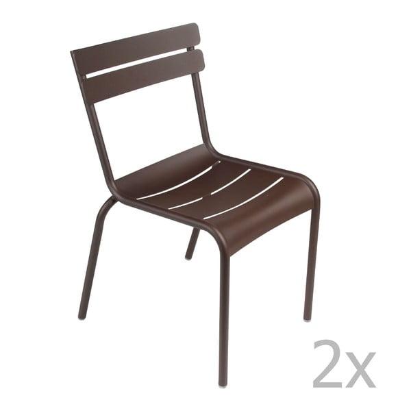 Zestaw 2 brązowych krzeseł Fermob Luxembourg