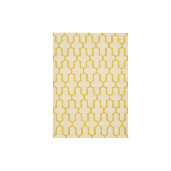 Ręcznie tkany dywan Yellow Lines Kilim, 156x225 cm