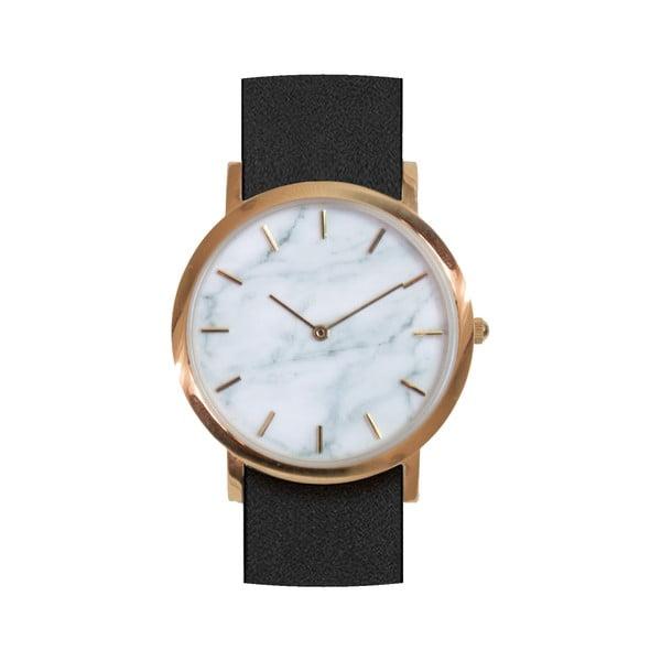 Biały marmurkowy zegarek z czarnym paskiem Analog Watch Co. Classic