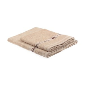 Zestaw 2 beżowych ręczników Beverly Hills Polo Club Tommy Yazi