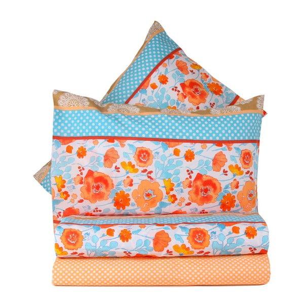 Pomarańczowa pościel na łóżko jednoosobowe z prześcieradłem Love Colors Novel, 160 x 220 cm