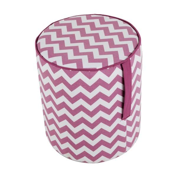 Okrągły puf Pois, różowy wzór