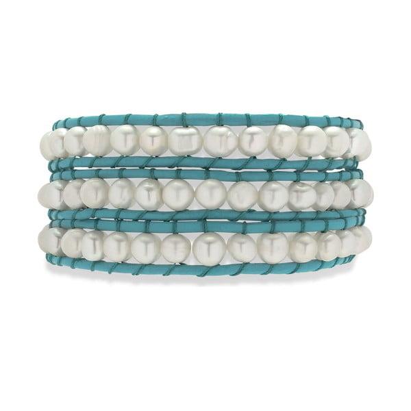 Niebiesko-biała bransoletka skórzana z perłami Nova Pearls Copenhagen Néreus