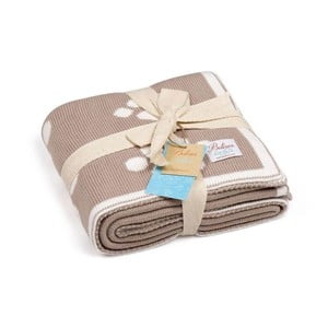 Beżowy bawełniany koc dziecięcy Baby Ecru Paws, 90x90 cm
