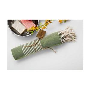 Ręcznik hammam Line Dark Green, 100x180 cm