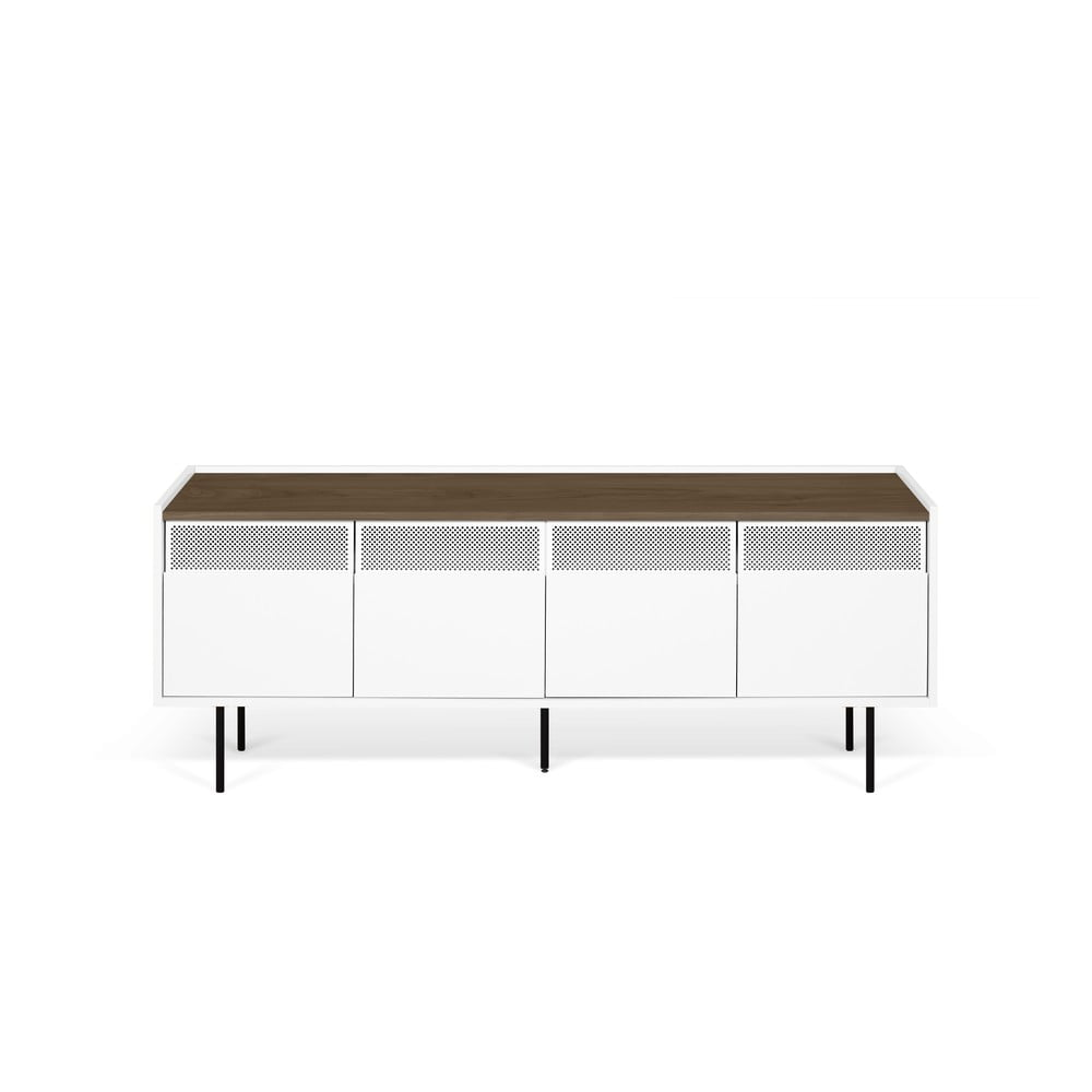 Biała szafka pod TV z blatem z dekorem drewna orzecha TemaHome Radio, 160x60 cm
