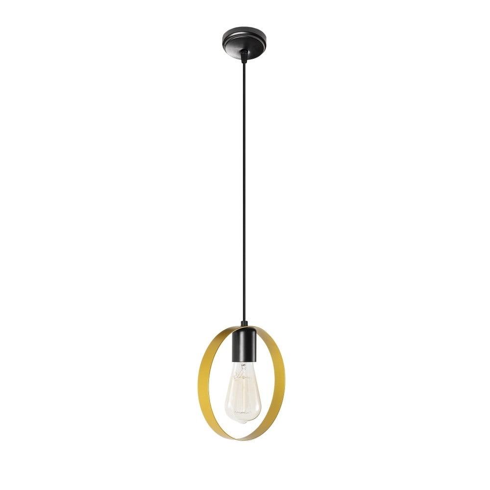 Czarna metalowa lampa wisząca w złotym kolorze Opviq lights Simeon