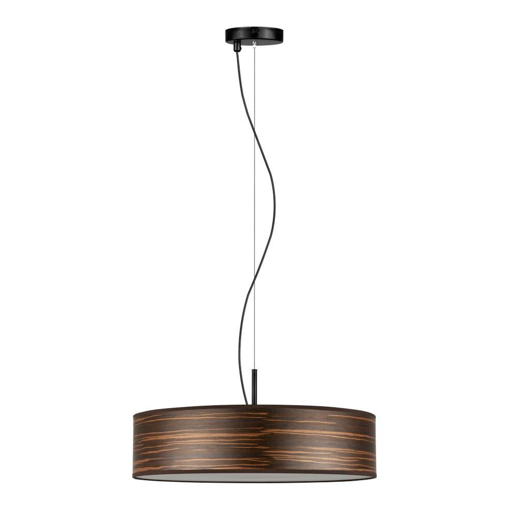 Ciemnobrązowa lampa wisząca z abażurem z naturalnego forniru Bulb Attack Ocho