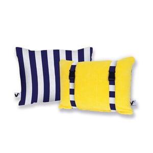 Żółta dwustronna poduszka plażowa Origama Blue Stripes