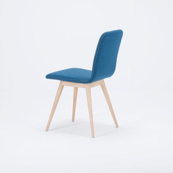 Niebieskie krzesło dębowe Gazzda Ena