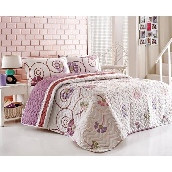 Narzuta na łóżko z poszewkami na poduszki Daydream Lilac, 200x220 cm