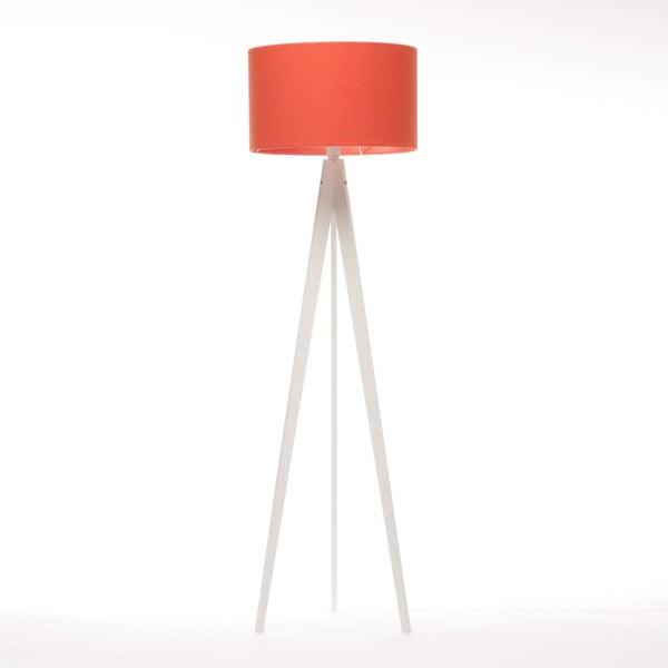 Czerwona lampa stojąca Artist, biała lakierowana brzoza, 150 cm