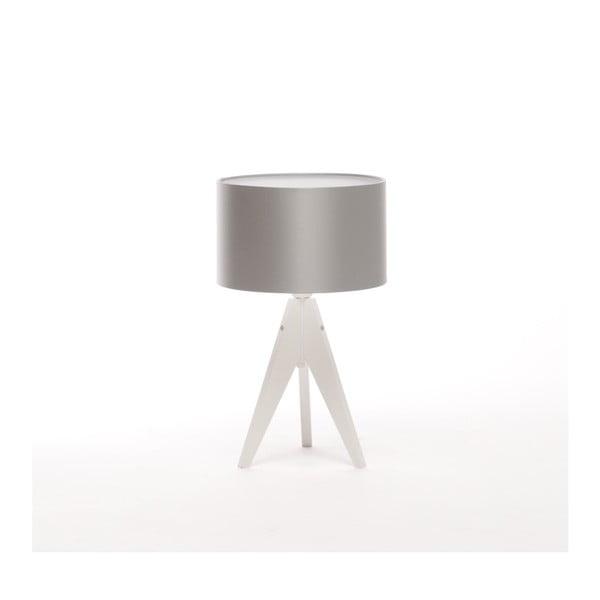 Srebrna lampa stołowa 4room Artist, biała lakierowana brzoza, Ø 25 cm