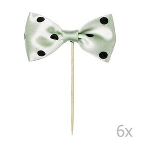 Zestaw 6 zielonych ozdób na tort Miss Étoile Bow