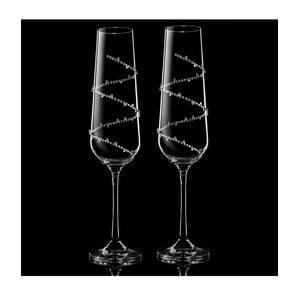 Zestaw 2 kieliszków do szampana Tethys ze Swarovski Elements