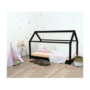 Czarne łóżko dziecięce z drewna świerkowego Benlemi Tery, 80x190 cm