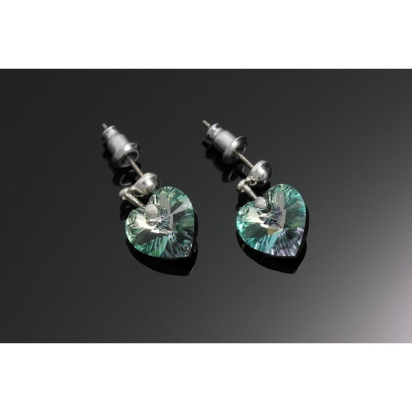 Kolczyki Swarovski Elements Hearts Dark Green