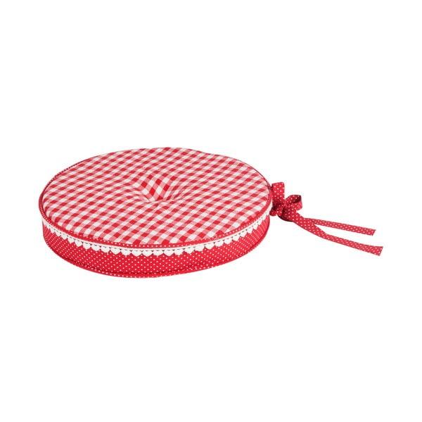 Okrągła poduszka na krzesło Basic Hearts 40 cm, czerwona