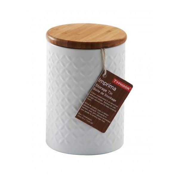Biały pojemnik z drewnianą przykrywką Typhoon Diamond