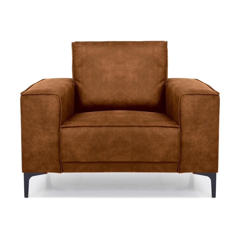 Brązowy fotel z imitacji skóry Scandic Copenhagen Preston