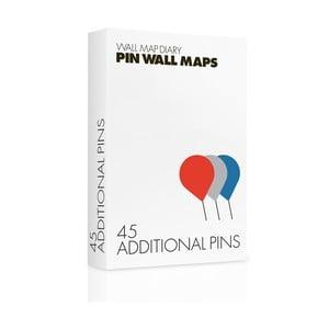Zapasowe pinezki do mapy Pin World 45 szt, kolorowe