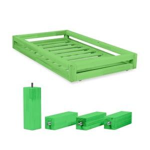 Komplet zielonej szuflady pod łóżko i 4 wydłużonych nóg Benlemi,łóżko80x160cm