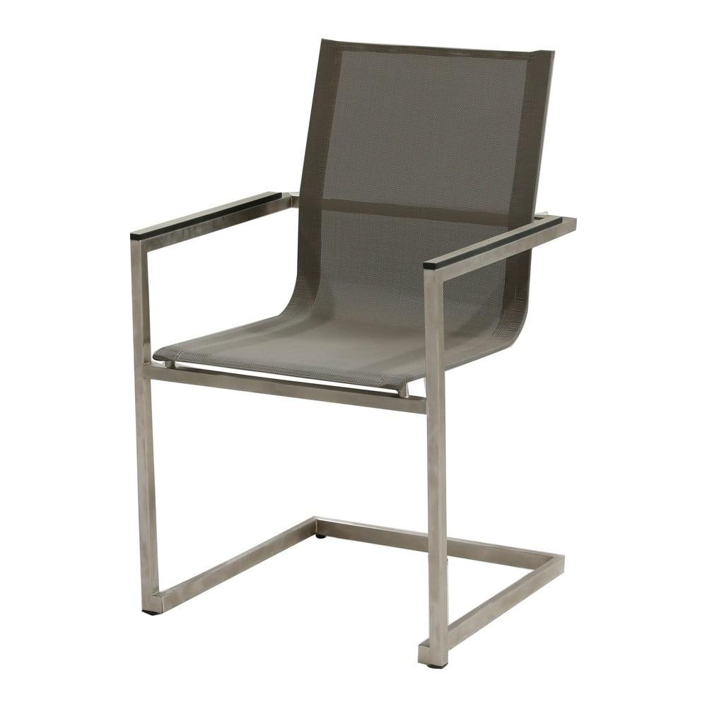 Szare krzesło ogrodowe ze stali nierdzewnej ADDU Sienna