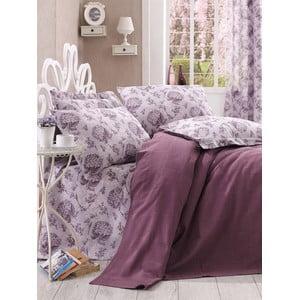 Narzuta i prześcieradło Purple Floral, 160x235 cm