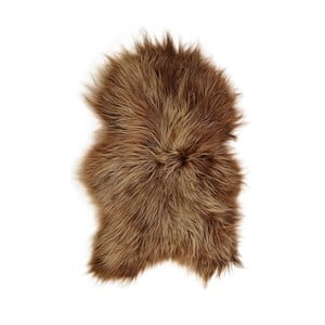 Brązowa skóra owcza z długim włosiem Lina, 90x60 cm