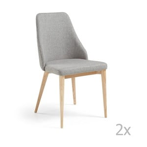 Zestaw 2 jasnoszarych krzeseł La Forma Roxie
