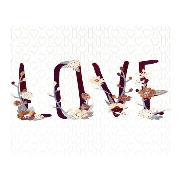 Plakat w drewnianej ramie Flower love, 38x28 cm