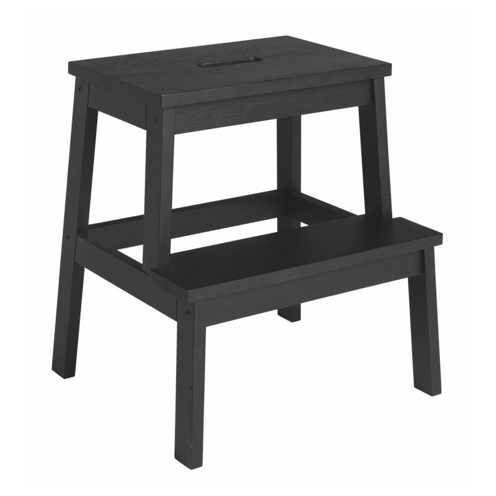 Czarny stołek z drewna dębowego/schodki Rowico Nanna