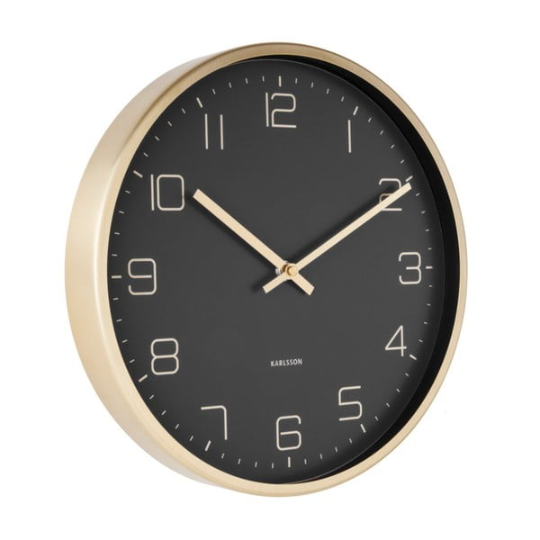 Czarny zegar ścienny Karlsson Elegance