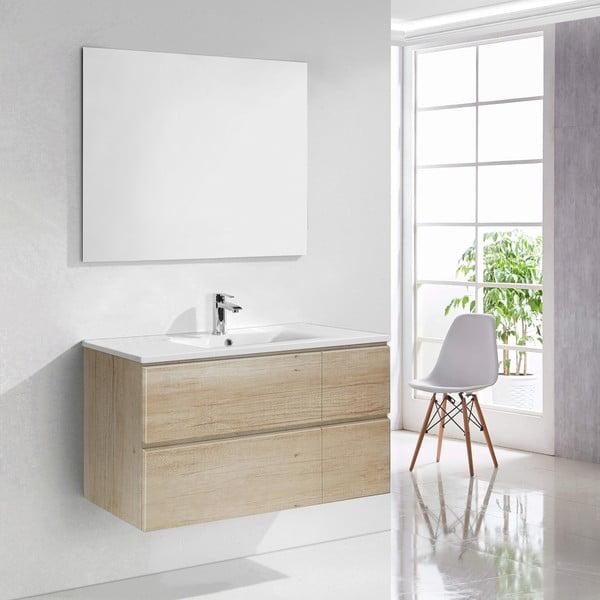 Szafka do łazienki z umywalką i lustrem Capri, motyw drewna, 100 cm