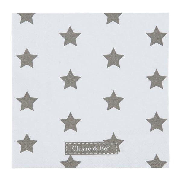 Białe serwetki Clayre & Eef Xmas Star, 20 szt.