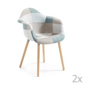 Zestaw 2 niebiesko-szarych krzeseł z drewnianymi nogami i podłokietnikami La Forma Kenna