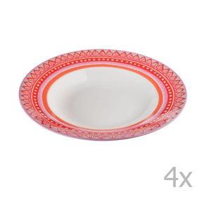Komplet 4 talerzy porcelanowych na zupę Oilily 24,5 cm, czerwony