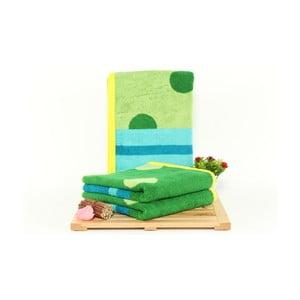 Zestaw 3 zielono-niebieskich ręczników Punkte Grass, 50x100cm