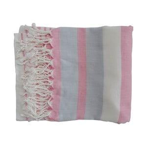 Różowo-szary ręcznie tkany ręcznik z bawełny premium Rio,100x180 cm