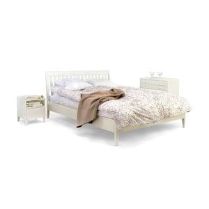 Białe łóżko wykonane ręcznie z litej brzozy Kiteen Matinea, 160x200cm