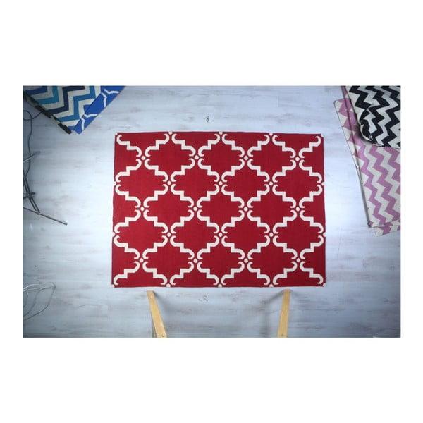 Dywan wełniany Geometry Home Red & White, 200x300 cm