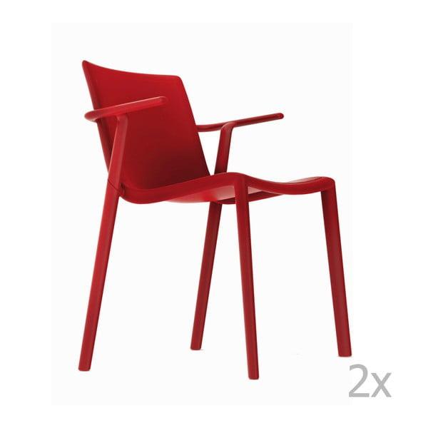 Zestaw 2 czerwonych krzeseł ogrodowych z podłokietnikami Resol Kat