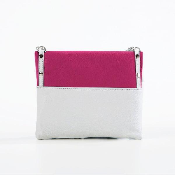 Skórzana torebka Roberto, biała/fuksja