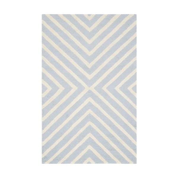 Wełniany dywan Prita Light Blue, 91x152 cm