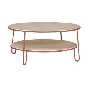 Stolik z różową metalową konstrukcją Harto Eugénie, ⌀ 90cm