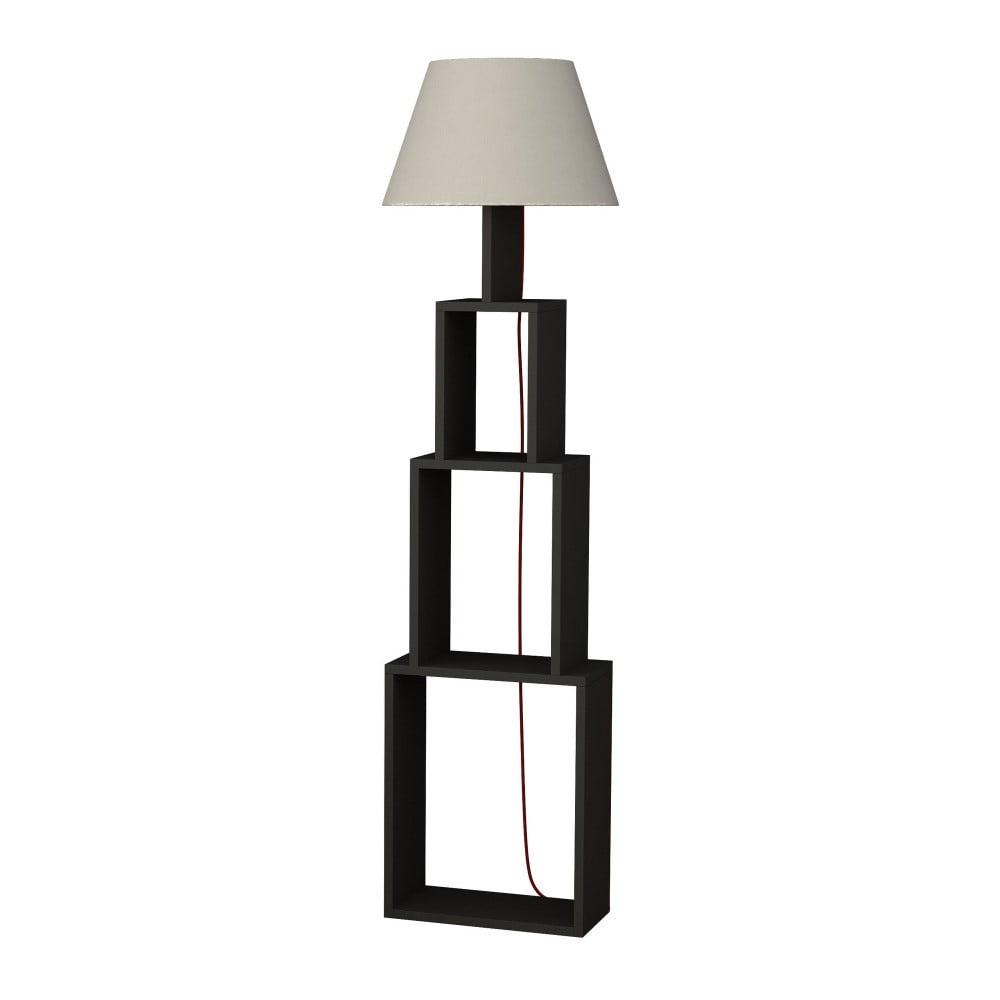 Antracytowa lampa stojąca z jasnoszarym abażurem Homitis Tower