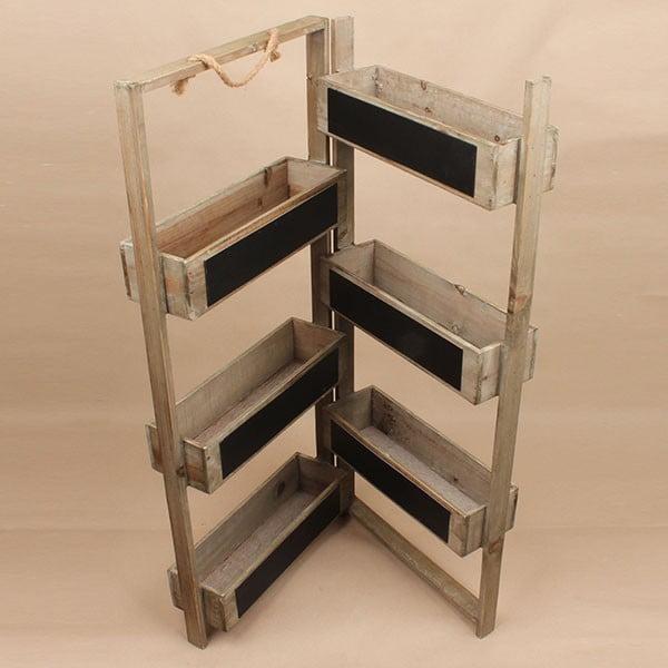 Składany stojak na doniczki z tablicą Garden, brązowy