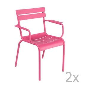 Zestaw 2 różowych krzeseł z podłokietnikami Fermob Luxembourg