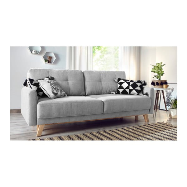 Szara sofa rozkładana Bobochic Paris Balio